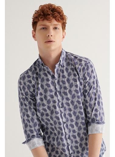 Avva Erkek Baskılı Düğmeli Yaka Slim Fit Gömlek A11Y2180 Lacivert